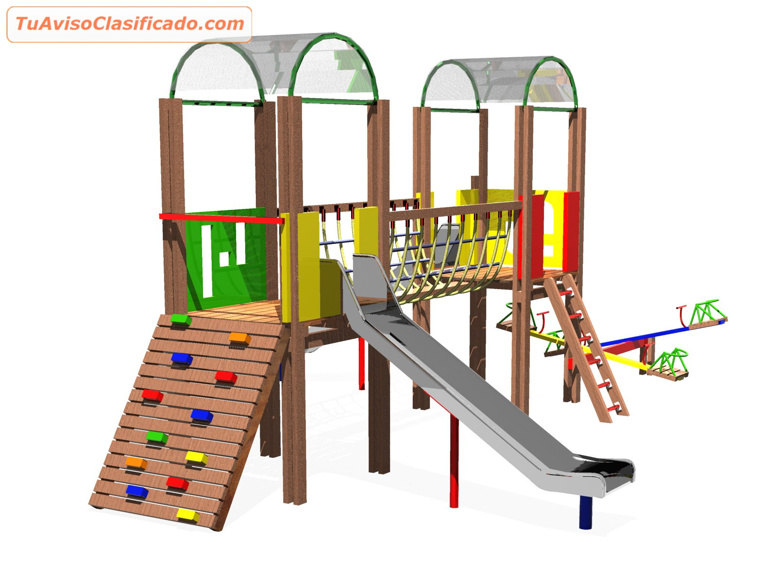 Parques infantiles para ni os en madera y metal brincoo juegos y for Juegos para jardin nios